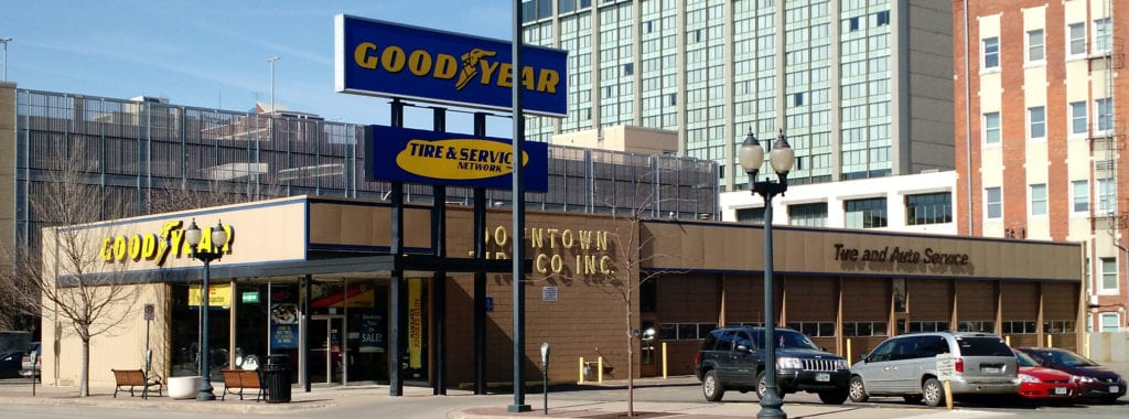 We repainted the exterior of the Goodyear Downtown Tire in Cedar Rapids, Iowa.