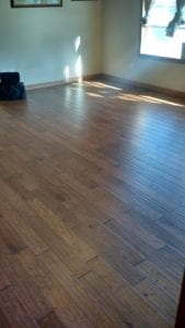 Another view of the hickory floors installed and finished by Hawthorne Construction & Painting.